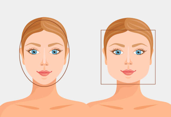 Čtvercový a oválný tvar obličeje