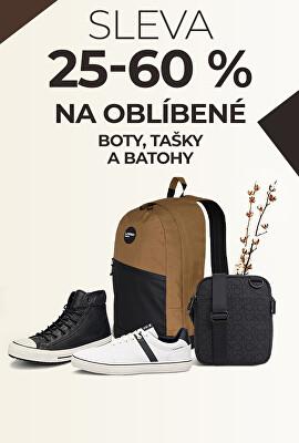 Sleva 25-60 % na oblíbené boty, tašky a batohy