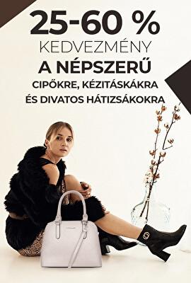 25-60% kedvezmény a népszerű cipőkre, kézitáskákra és divatos hátizsákokr