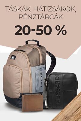 Táskák, hátizsákok, pénztárcák 20-50 %