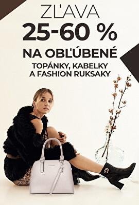 Zľava 25 – 60 % na obľúbené topánky, kabelky a fashion ruksaky