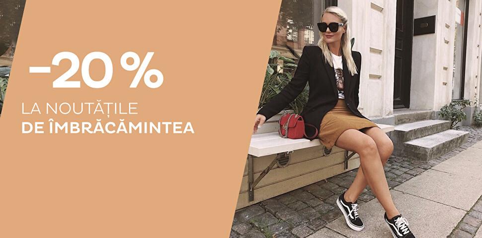Reducere - 20 % la noutăți îmbrăcăminte