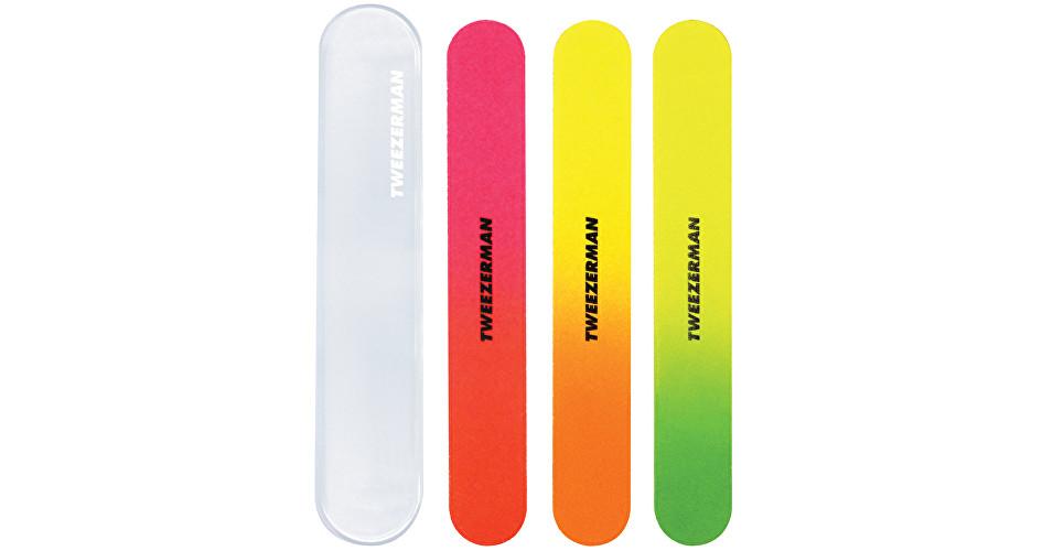Tweezerman Neónové pilníky na nechty s puzdrom (Neon Nail Files) 3 ks