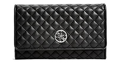 Guess Elegantná peňaženka Classic Quilted Wallet and Pouch Black