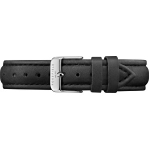 Rosefield Tribeca stitched black strap silver