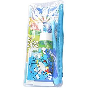 VitalCare Šmoulové zubní kartáček + zubní pasta + dětské náplasti + praktická taštička cestovní sada