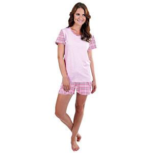Evona Dámske krátke pyžamo LINDA ružové káro XL
