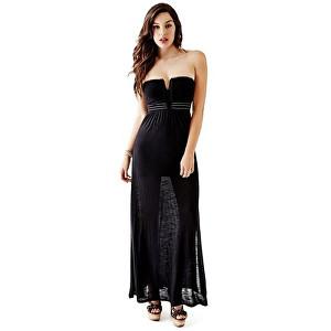 Guess Dámské šaty Strapless Applique Maxi Dress Black L