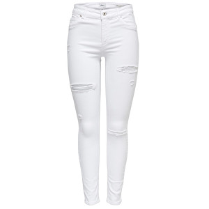 ONLY Doamne jeans Blush Mid Sk Ank Destory Rea0730 White