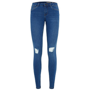Vero Moda Dámske džínsy -30 even Shape Up Mr S J Destr Vi335 Medium Blue Denim XS