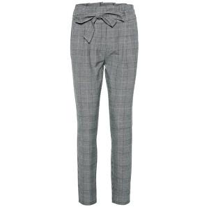Vero Moda Dámske nohavice VMEVA HR LOOSE PAPERBAG CHECK PANT NOOS Grey/White S/30
