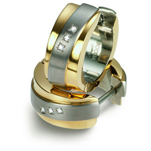 Boccia Titanium Pozlacené titanové náušnice s brilianty 0560-04