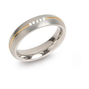 Boccia Titanium Pozlacený titanový snubní prsten s diamanty 0130-04 49 mm