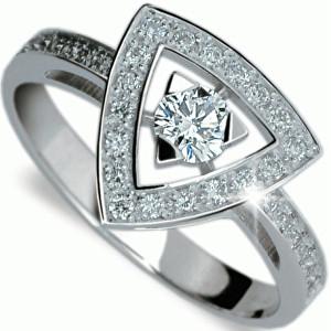 Danfil Luxusní zlatý prsten s diamanty DF1970b 49 mm