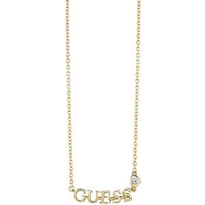 Guess Pozlacený náhrdelník s nápisem UBN61087