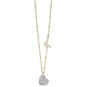 Guess Pozlacený náhrdelník se srdíčkem UBN84041