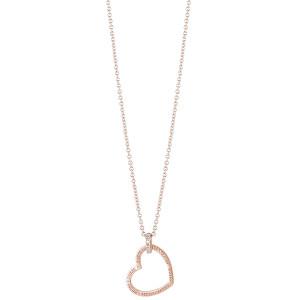 Guess Růžově pozlacený srdíčkový náhrdelník UBN82061