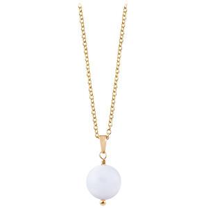 Troli Pozlacený náhrdelník s bílým achátem TO2423