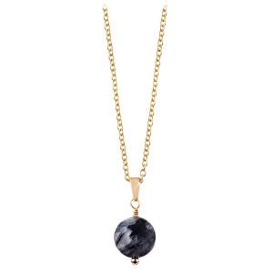 Troli Pozlacený náhrdelník s tmavým rutilovaným křemenem TO2421