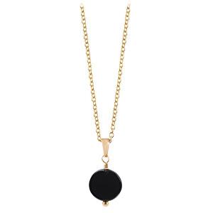 Troli Pozlacený náhrdelník s lesklým onyxem TO2652
