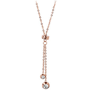 Troli Růžově pozlacený ocelový náhrdelník s krystaly