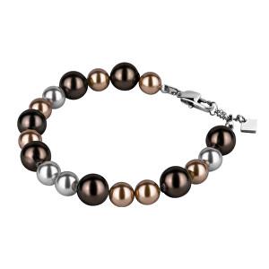 Tribal náramek chirurgická ocel a imitace perel BSS228