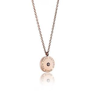 Victoria Walls Růžově pozlacený ocelový náhrdelník VN1052R