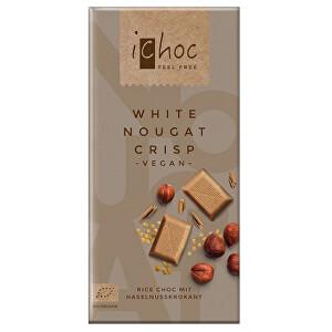 Ichoc Bio Rýžová bílá nugát s oříšky iChoc 80 g