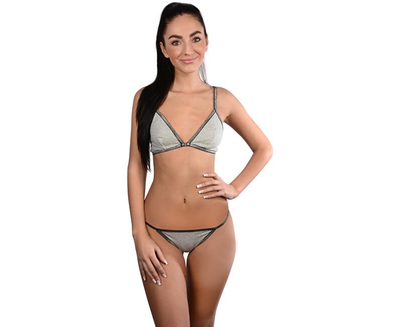 Calvin Klein Dámsky set spodnej bielizne Underwear Gift Set (Triangle&Tangá) QF4201E-GH8 Grey Heather w. Silver Lurex S