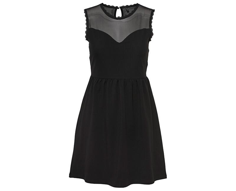 ONLY Dámske šaty Nielli Mesh Sl Dress Jrs Black XS c3e1be0b9b2