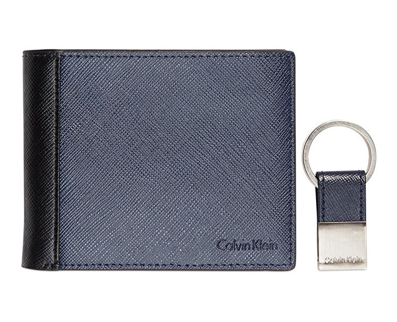 Calvin Klein Pánska modrá peňaženka s kľúčenkou Saffiano Leather Two-Tone Bifold Wall et & Key Fob - ZĽAVA