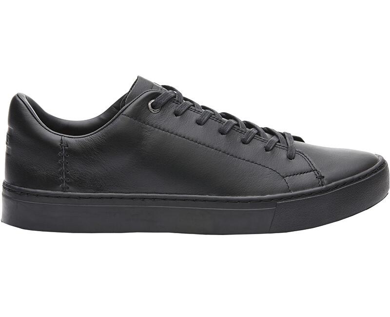 TOMS Pánske čierne tenisky Back/Black Leather Lenox 42