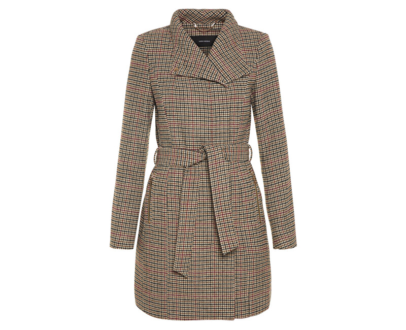 Vero Moda Dámský kabát Two Dope Check 3/4 Wool Jacket Tobacco Brown Black With Winetasting XS