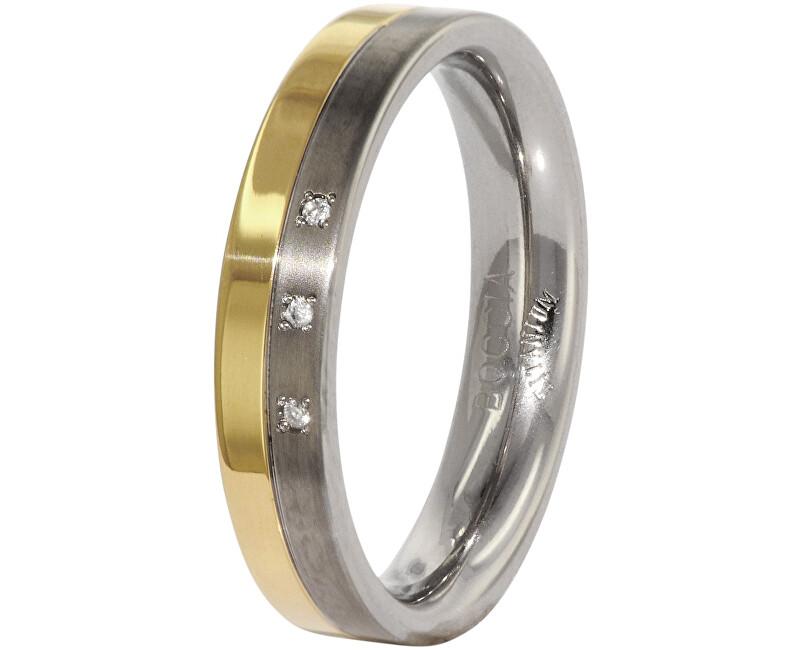 Boccia Titanium Snubný titánový prsteň s diamantmi 0129-04 52 mm