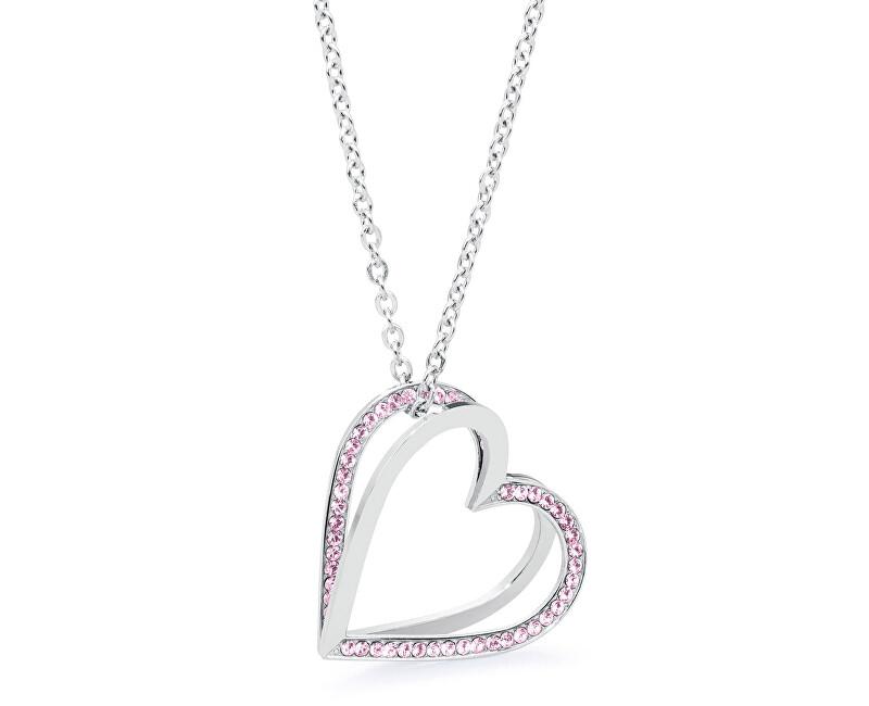 Brosway Oceľový náhrdelník so srdiečkami Frame BFM07