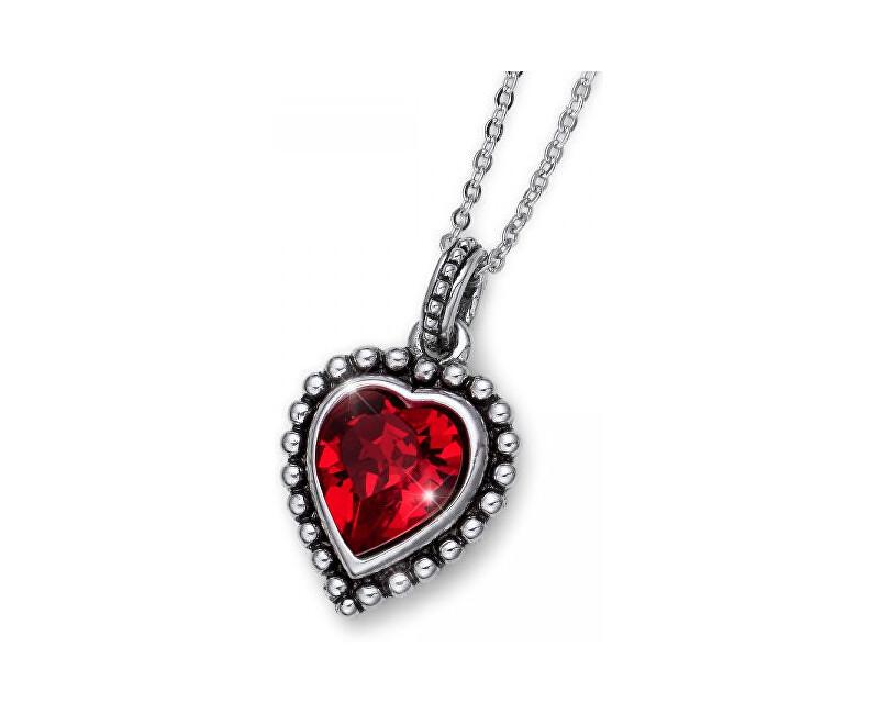 Oliver Weber Romantický náhrdelník s červeným kryštálom Beach Antique Heart 11731 227