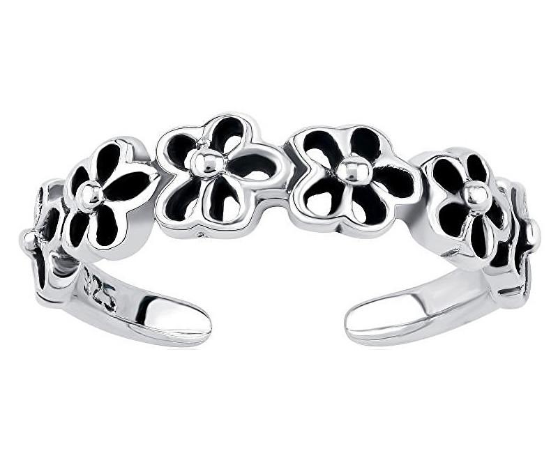 Silvego Strieborný prsteň na nohu s kvetinami PRMR11673