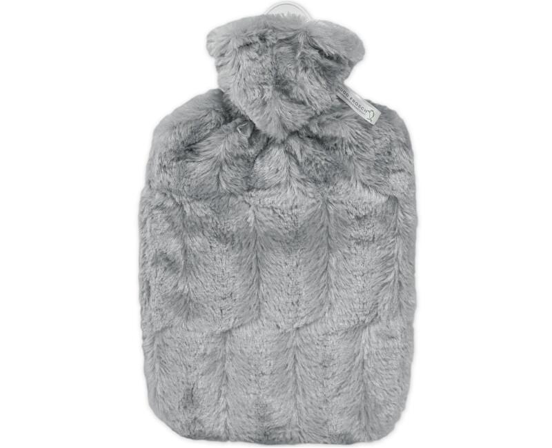 Hugo-Frosch Termofor Classic s obalom z umelej kožušiny - sivý s podšívkou