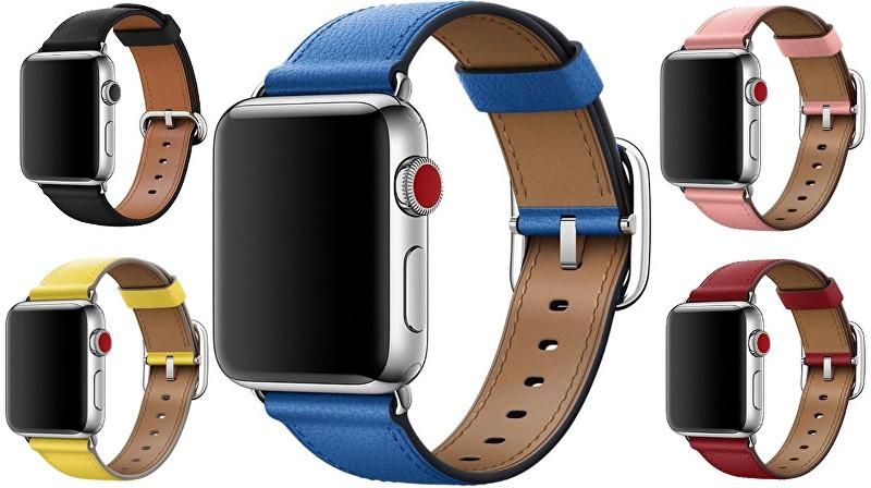 Apple Kožený řemínek s prošíváním 38 mm modrý