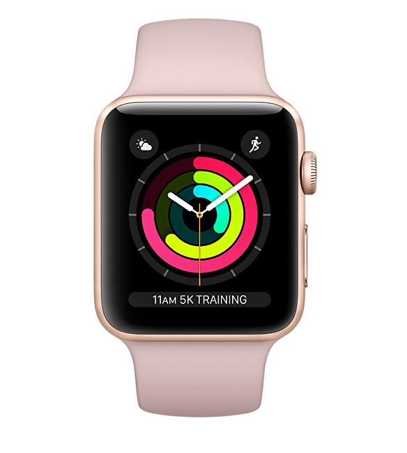 Apple Watch Series 3 38mm zlatý hliník s pískově růžovým sportovním řemínkem