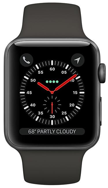 Apple Watch Series 3 42 mm vesmírně šedý hliník s šedým sportovním řemínkem