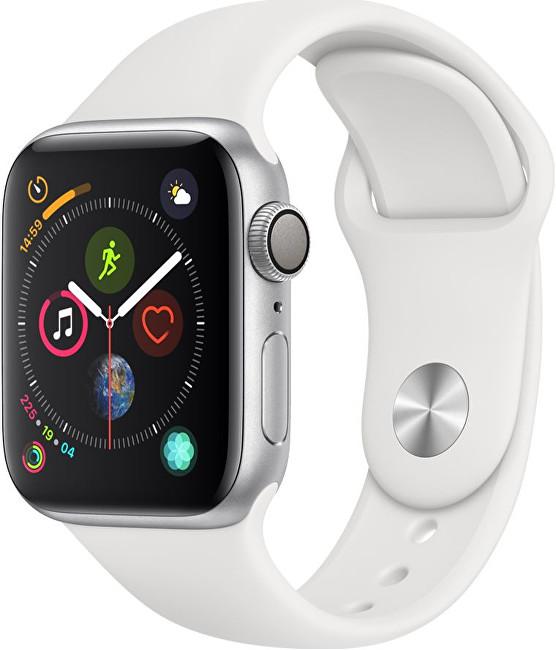 Apple Watch Series 4 40mm stříbrný hliník s bílým sportovním řemínkem