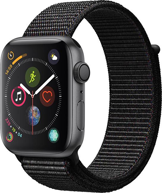 Apple Watch Series 4 40mm vesmírně šedý hliník s černým provlékacím sportovním řemínkem