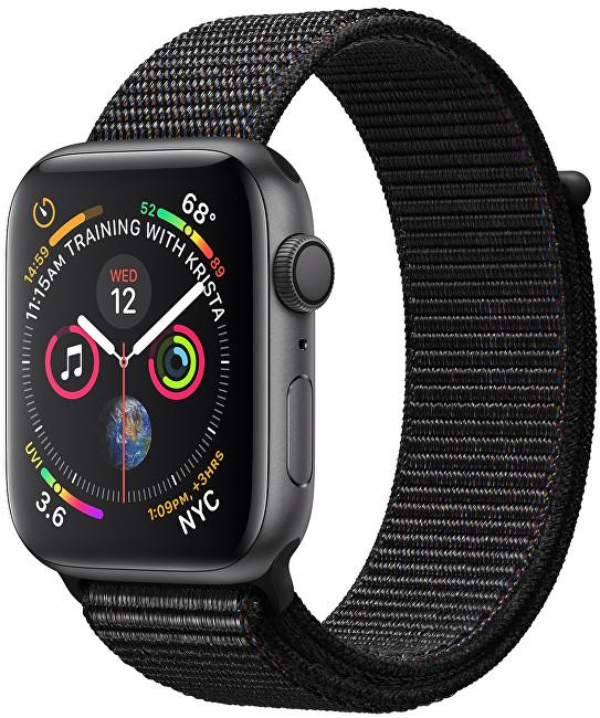 Apple Watch Series 4 44mm vesmírně šedý hliník s černým provlékacím sportovním řemínkem