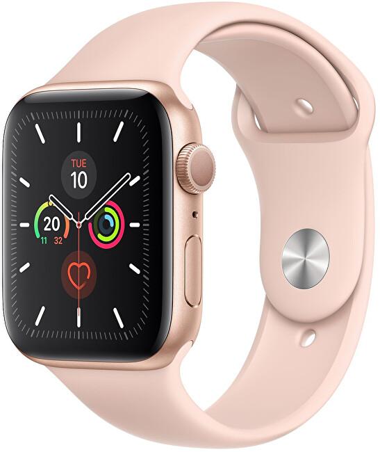 Apple Watch Series 5 44mm arany alumínium rózsaszín sportos óraszíjjal.
