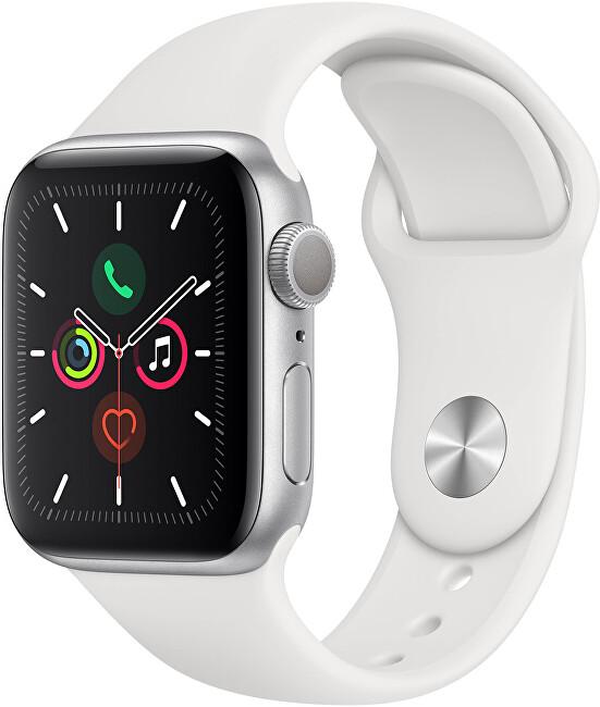 Apple Watch Series 5 40 mm strieborný hliník s bielym športovým remienkom