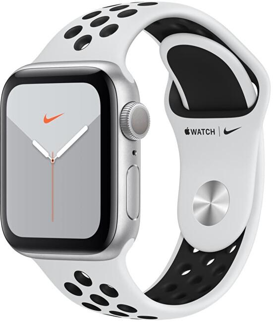 Apple Watch Series 5 Nike 40 mm, ezüst alumínium fehér Nike szíjjal