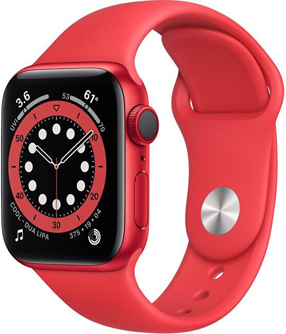 Apple Watch Series 6 44mm červený hliník s červeným sportovním řemínkem