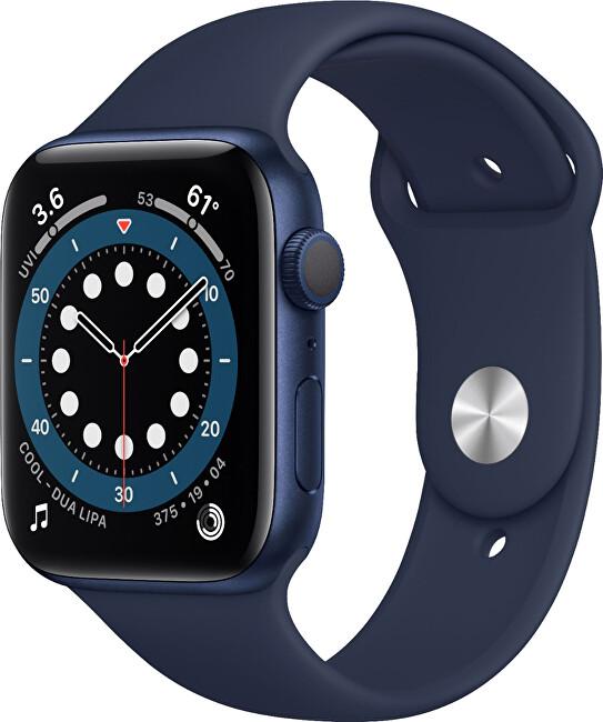 Apple Watch Series 6 44mm modrý hliník s námořnicky tmavomodrým sportovním řemínkem