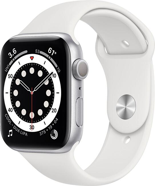 Apple Watch Series 6 40mm stříbrný hliník s bílým sportovním řemínkem
